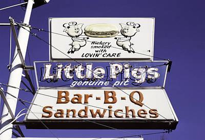 Little Pigs Bbq Sign, Asheville, North Carolina, 1988 Art Print by John Margolies