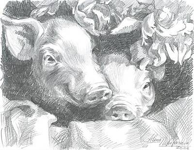 Drawing - Little Pigs With Flowers by Alena Nikifarava
