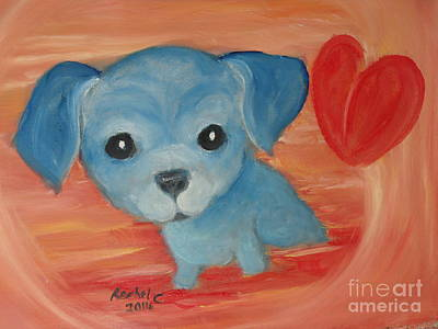 Painting - Little Pup Big Heart by Rachel Carmichael