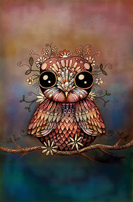 Little Rainbow Flower Owl Art Print by Karin Taylor