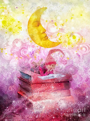 Glowing Moon Mixed Media - Little Reader by Mo T
