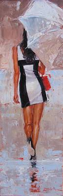 Thick Painting - Little Red Bag by Laura Lee Zanghetti
