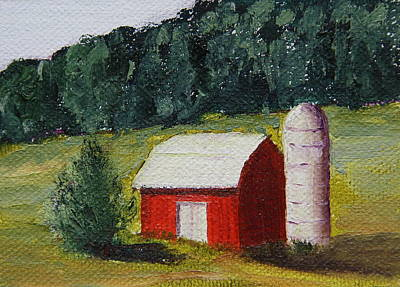 Painting - Little Red Barn by Alan Mager