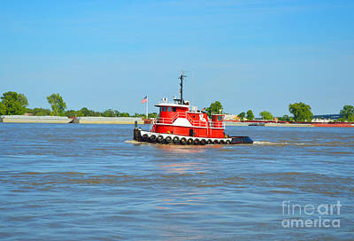 Little Red Boat On The Mighty Mississippi Art Print