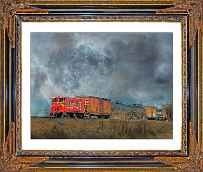 Full Moon Mixed Media - Little Red Caboose  by Betsy Knapp