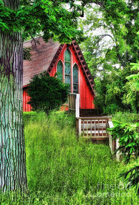 Church On The Hill Photograph - Little Red Church On The Hill by Clare VanderVeen