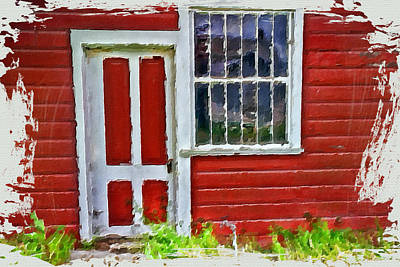 Little Red Cottage Art Print by Bonnie Bruno