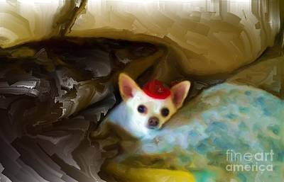 Chihuahua Digital Art - Little Red Hat by Rod Pena