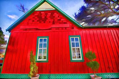 Digital Art - Little Red House by Audreen Gieger