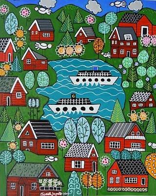 Little Red Norwegian Houses Art Print