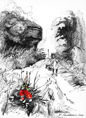 Little Girl Mixed Media - Little Red Riding Hood And Gray Wolf by Ninel Senatorova