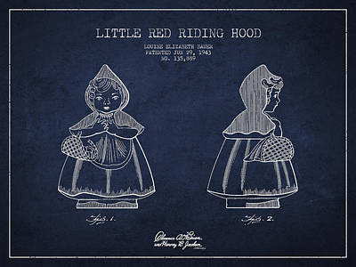 Fantasy Digital Art - Little Red Riding Hood Patent Drawing from 1943 by Aged Pixel