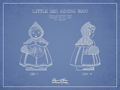 Fantasy Digital Art - Little Red Riding Hood Patent Drawing from 1943 - Light Blue by Aged Pixel