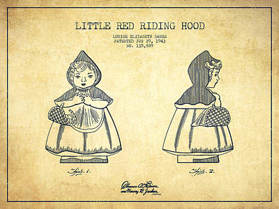 Little Red Riding Hood Digital Art - Little Red Riding Hood Patent Drawing From 1943 - Vintage by Aged Pixel