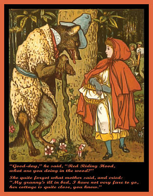 Painting - Little Red Riding Hood  by Walter Crane