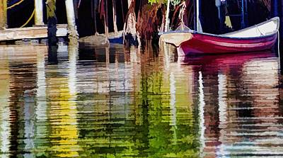Art Print featuring the photograph Little Red Row Boat by Pamela Blizzard