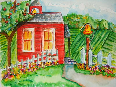 Red School House Painting - Little Red Schoolhouse by Elaine Duras