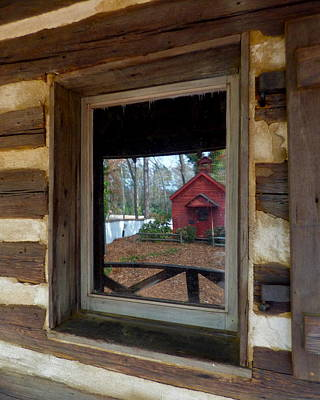 Photograph - Little Red Schoolhouse In The Window by Jean Wright