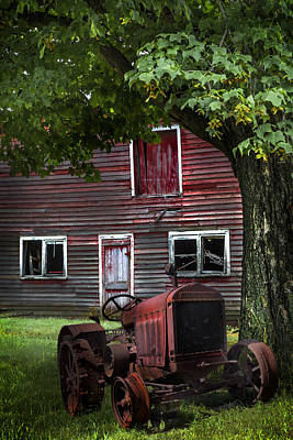 Country Cottage Photograph - Little Red Tractor by Debra and Dave Vanderlaan