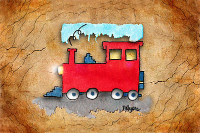 Painting - Little Red Train by Paula Ayers