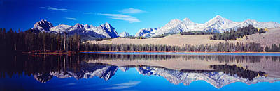 Conifer Tree Photograph - Little Redfish Lake Mountains Id Usa by Panoramic Images