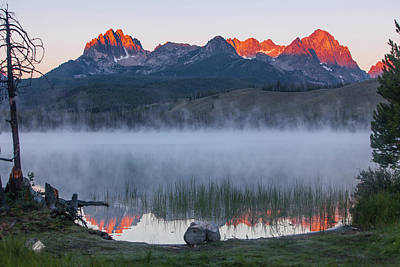 Sawtooth Mountains Photograph - Little Redfish Lake, Snra, Idaho, Red by Michael Qualls