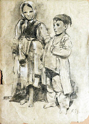 Drawing - Little Refugees - Greek Orphans			 by Sefedin Stafa