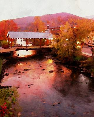 Little River Bridge At Sunset Gatlinburg Art Print by Rebecca Korpita