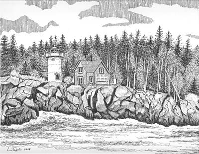 Drawing - Little River Lighthouse by Lawrence Tripoli
