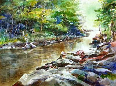 Smokey Mountains Painting - Little River Morning by Duane Barnhart