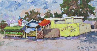 Painting - Little Road Farm Market by Tony Caviston