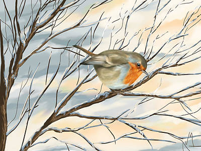 Snowy Trees Painting - Little Robin by Veronica Minozzi