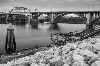 Arkansas Photograph - Little Rock Arkansas River Bridge Black And White by Gregory Ballos