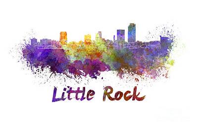 Little Rock Skyline In Watercolor Art Print by Pablo Romero