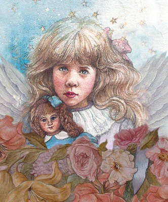 Painting - Little Rose Angel by Judith Cheng