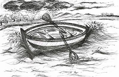 Wet On Wet Drawing - Little Rowing Boat by Teresa White