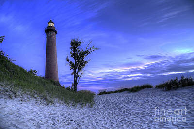 Little Sable Lighthouse In Evening Art Print by Twenty Two North Photography