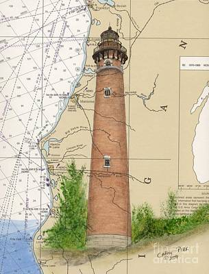 Chart Painting - Little Sable Lighthouse Lake Mi Nautical Chart Map Art Cathy Peek by Cathy Peek