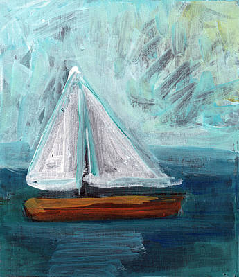 Transportation Royalty-Free and Rights-Managed Images - Little Sailboat- Expressionist Painting by Linda Woods