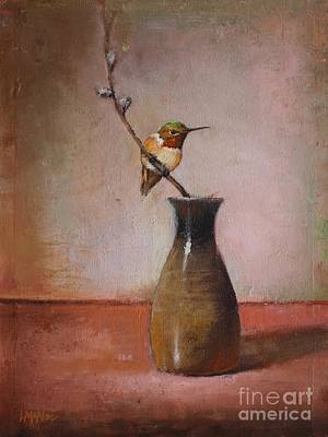 Rufous Wall Art - Painting - Little Sake Bottle by Lori  McNee