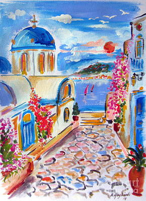 Little Santorini Alley Art Print
