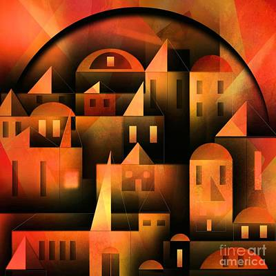 Naive Art Digital Art - Little Shining City by Franziskus Pfleghart