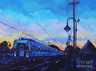 Commuters Painting - Little Silver Sunset by Michael Ciccotello