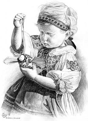 Slovak Drawing - little Slovak girl in traditional dress by Vlado Ondo