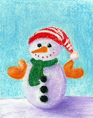 Baby New Year Painting - Little Snowman by Anastasiya Malakhova