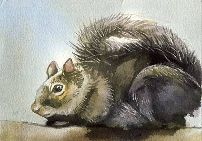 Squirrel Watercolor Painting - Little Squirrel Watercolor by Alfred Ng