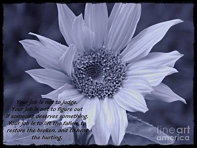 Photograph - Little Sunflower Quote In Cyan by Chalet Roome-Rigdon