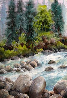 Karen Painting - Little Susitna River Rocks by Karen Mattson
