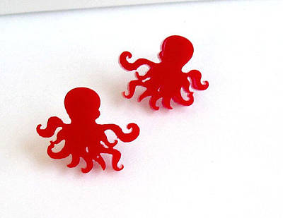 Perspex Jewelry Jewelry - Little Sweet Red Octopus Stud Earrings by Rony Bank