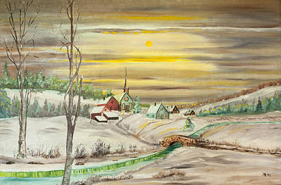 Painting - Little Town In Winter By Merlin Reynolds by Fran Riley